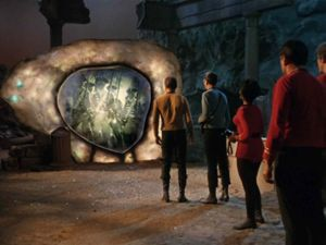 ]The <em>Enterprise</em> crew encounter the Guardian of Forever.