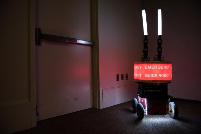"Georgia Tech researchers built the ""Rescue Robot"" to determine whether or not building occupants would trust a robot designed to help them evacuate a high-rise in case of fire or other emergency."
