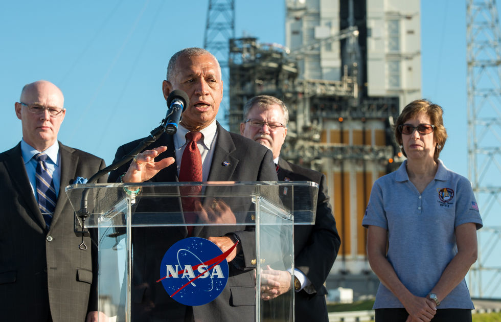 NASA Administrator Charles Bolden speaks to the media two days before Orion's uncrewed flight in December 2014.