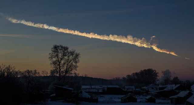 A little more than half a day at 2012 DA 14's closest approach a meteor measuring about 20 meters across broke apart in Earth's atmosphere above Chelyabinsk, Russia. Thousands of buildings were damaged, but fortunately no one died.