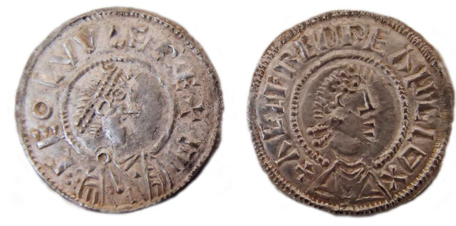 These are two coins from the ninth century, part of a Viking hoard found by a prospector in Watlington. Note the coin on the left bears Ceolwulf's name (CEOLVVLF), and the one on the right bears Alfred's (AELFRED).