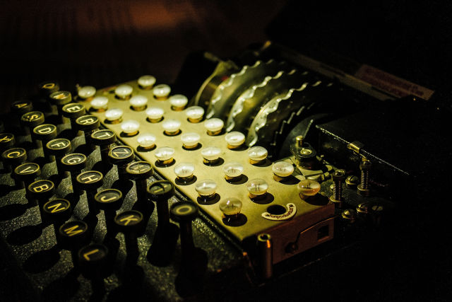Before Diffie-Hellman, symmetric cryptography—as exemplified by this Nazi-era Enigma machine—was the norm.
