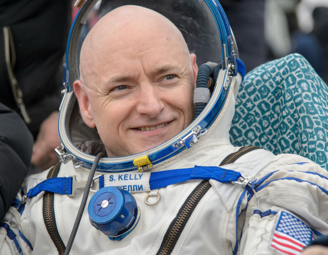 Scott Kelly is all smiles after landing in Kazakhstan earlier this month.