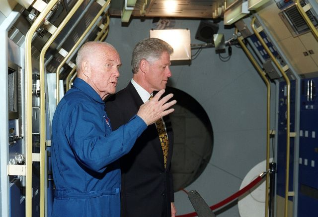 John Glenn explains to then President Clinton where NASA keeps the aliens in 1998.