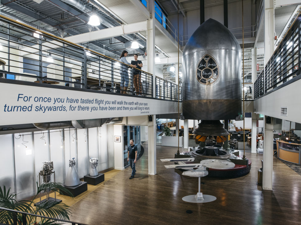 Welcome to Blue Origin, where you're greeted with a replica of the spacecraft in Jules Verne's <em>From the Earth to the Moon.</em>