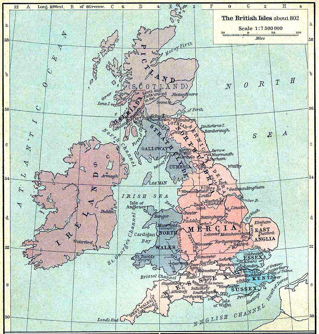 The British Isles, in the early 800s.