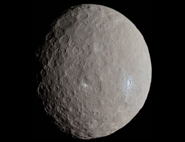"An ""approximately"" true color image of Ceres taken by the Dawn spacecraft as it approached the dwarf planet in May, 2015."