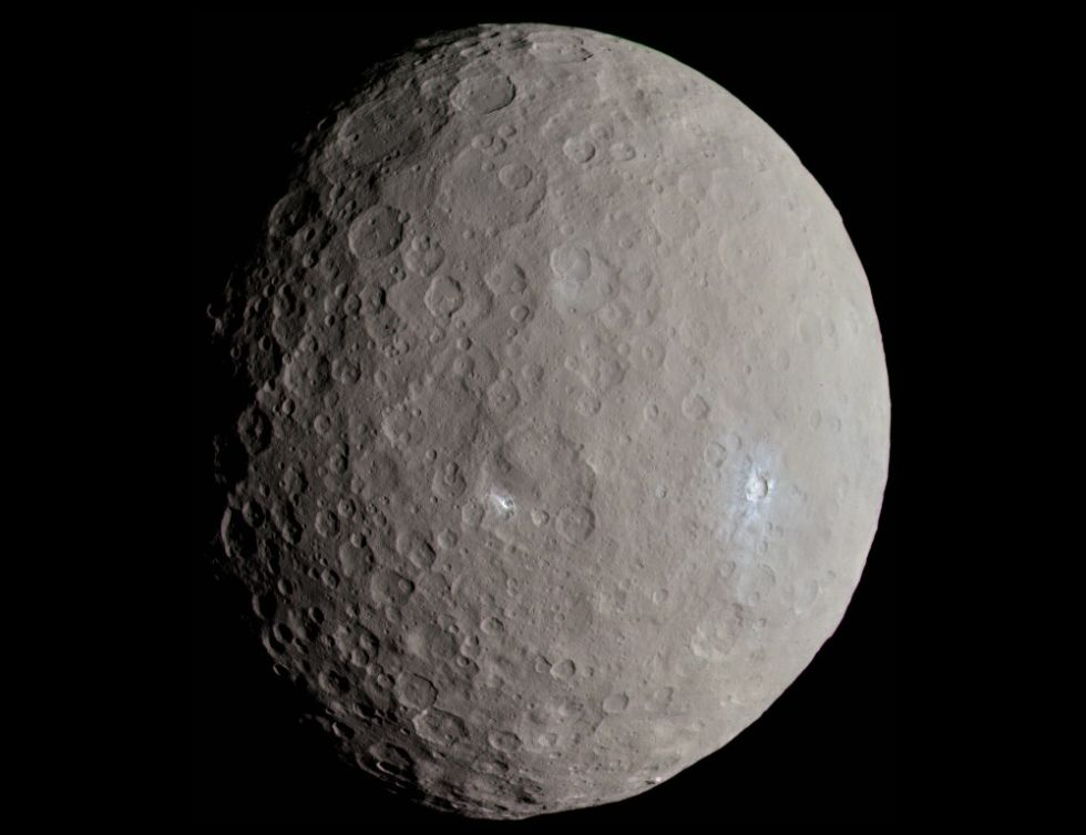 """An """"approximately"""" true color image of Ceres taken by the Dawn spacecraft as it approached the dwarf planet in May, 2015."""