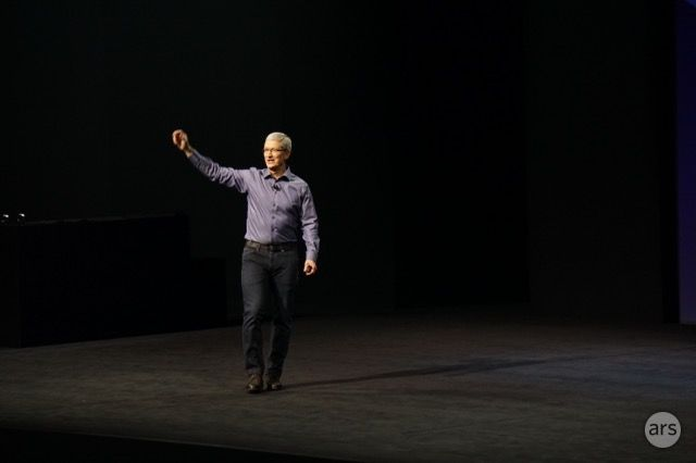 Apple CEO Tim Cook takes the stage at the company's September 2015 product event.