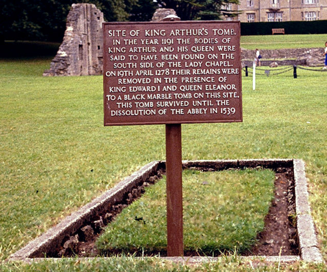 The site of King Arthur and Guinevere's grave. The grave was brought into the abbey just a few years after the place burned down and the monks were desperate for money to rebuild.
