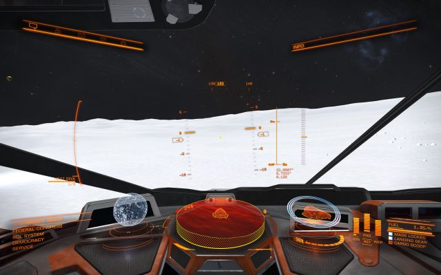 Landing on a planet in <em>Elite: Dangerous</em>.