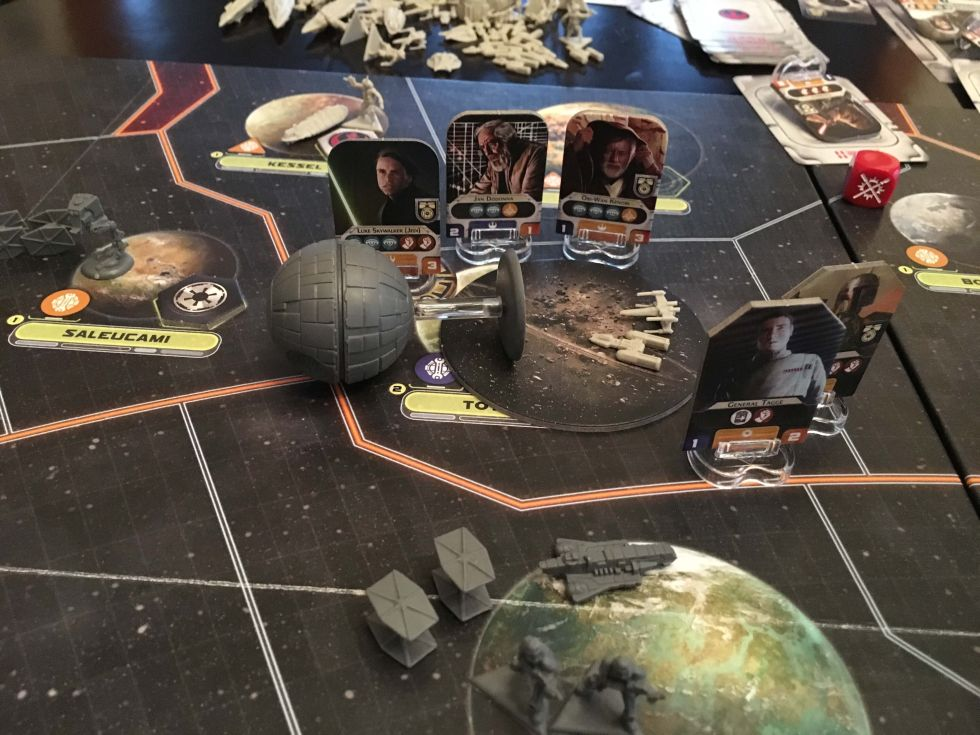 The aftermath of the final battle. A blown-up planet, a destroyed Death Star, and Star Wars heroes aplenty.
