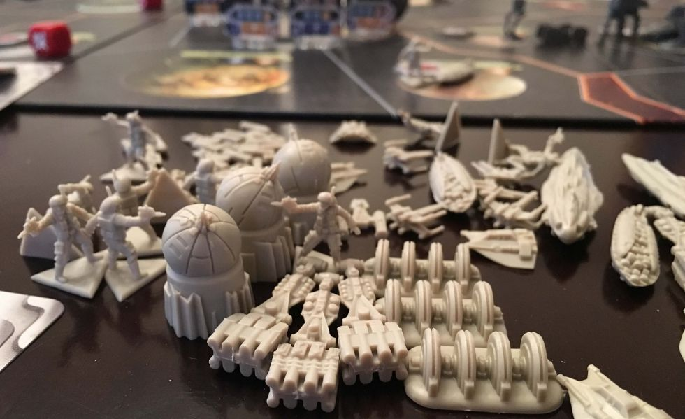 The rebel player's miniatures.