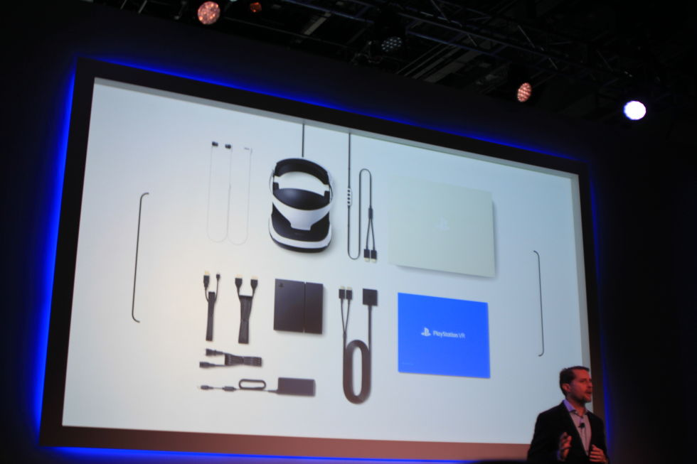 Sony's Andrew House showing everything that comes in the $399 PSVR package.