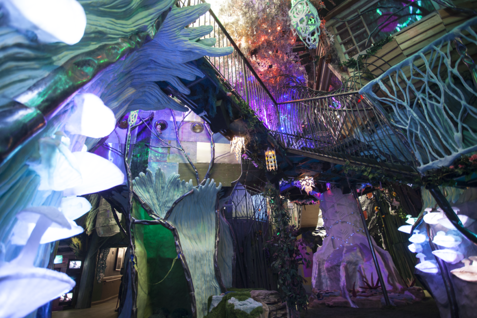 A view from the enchanted forest, showing all the stairs and crawl spaces that you can explore.