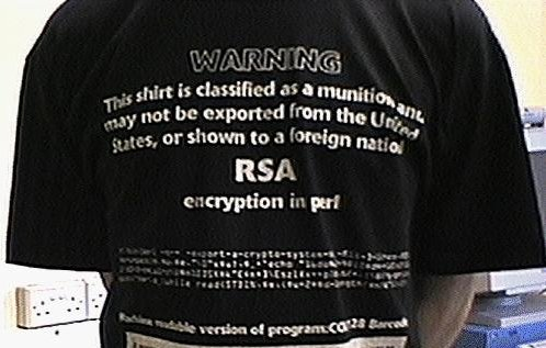 The famous munition T-shirt—the way security data might have to have been shared if proposed trade restrictions under the Wassenaar Arrangement were approved.