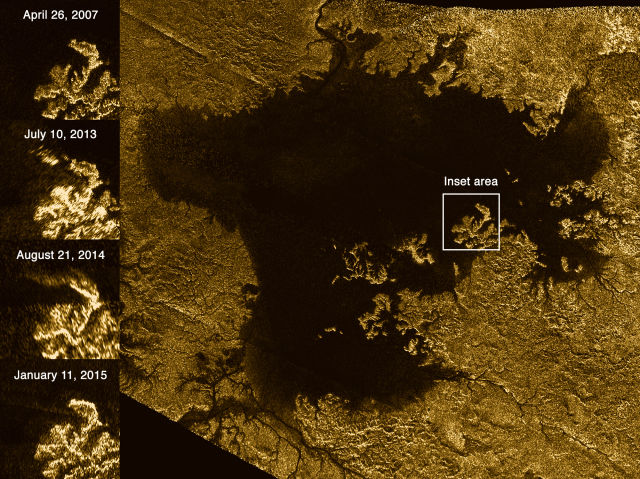 This image shows the evolution of a transient feature in the large hydrocarbon sea named Ligeia Mare.