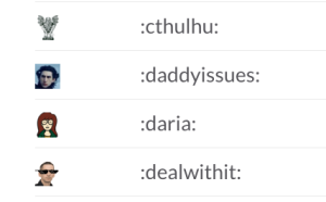 A glimpse at Ars Slack emoji culture. That's Kylo Ren for :daddyissues: and Ron Amadeo for :dealwithit: