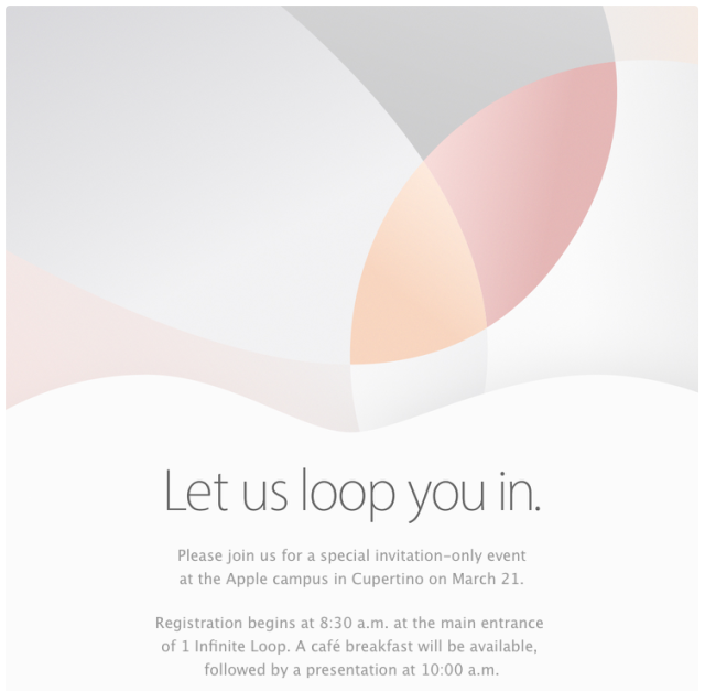 "Apple wants to ""loop you in"" at its March 21 press event"