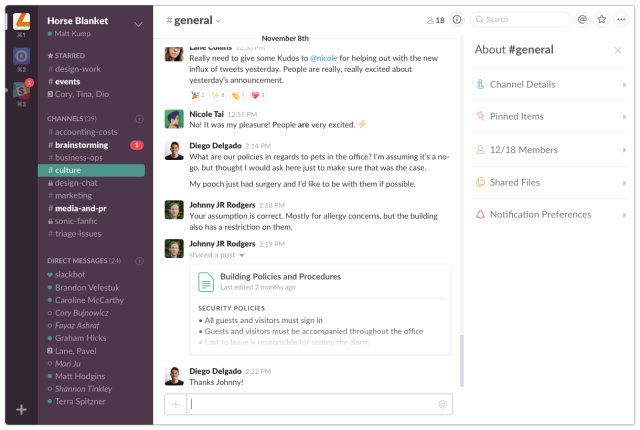 If you haven't dabbled in Slack yet, this is what the main interface looks like for the Desktop App. (One win for home office culture as Diego can't bring his injured pet to the office :sadface:)