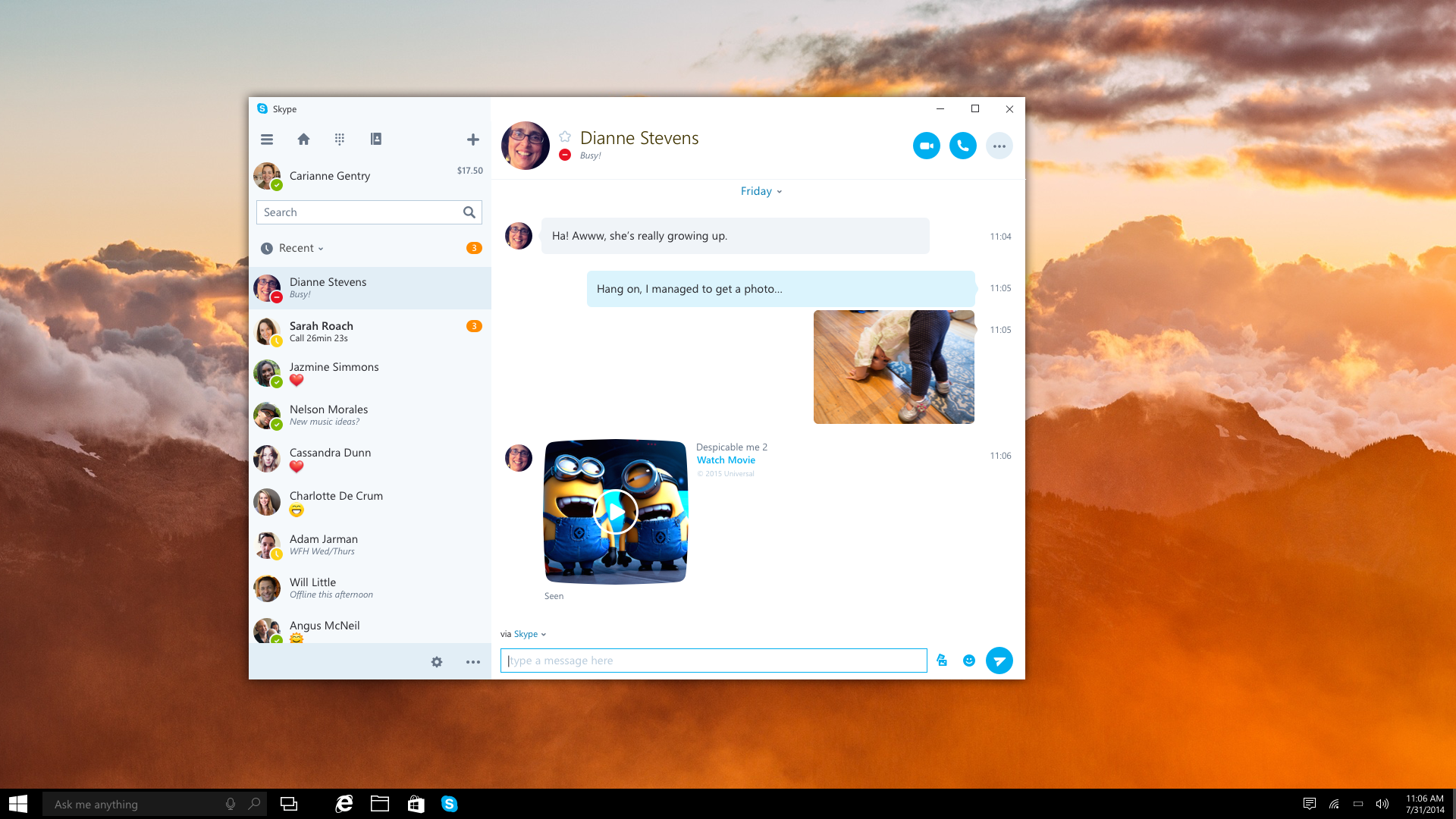 The new UWP Skype app looks like a slightly tidier version of the current Win32 app.