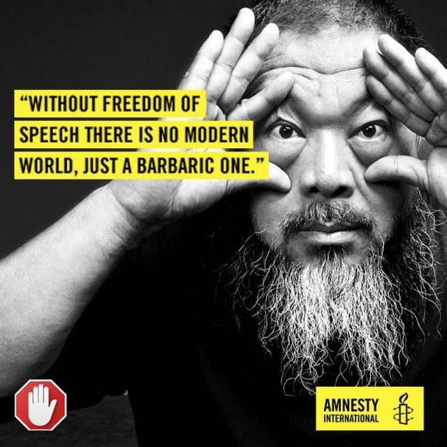 Chinese artist and dissident Ai Weiwei, in an Amnesty International ad that will be distributed by Adblock.