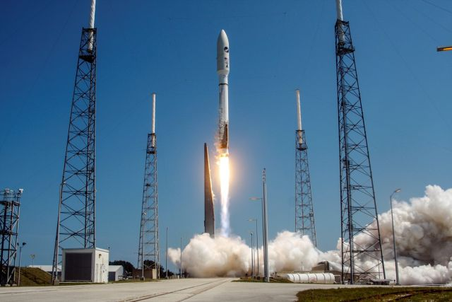 A United Launch Alliance  Atlas V rocket successfully launches the AFSPC-5 satellite for the US Air Force in 2015.