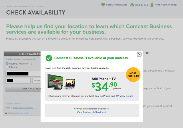 Despite all appearances, Comcast Business wasn't available at SmartCar's address.
