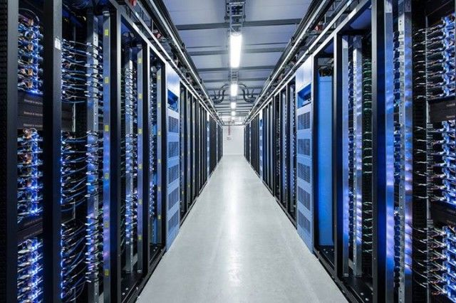 One of Facebook's data centers filled with custom-designed servers.