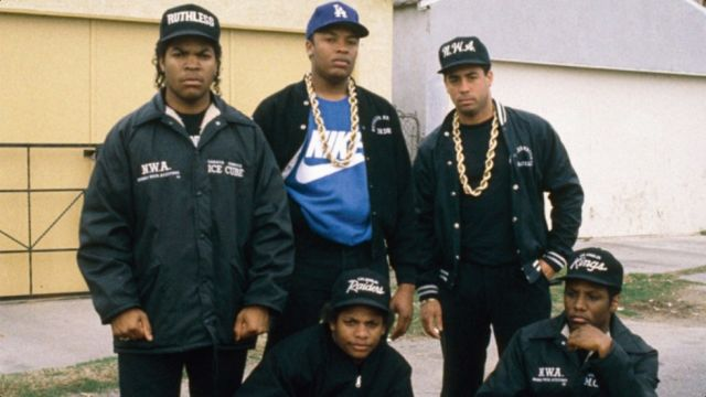 N.W.A. in the late 1980s. Three different versions of the marketing campaign for the band's biopic <i>Straight Outta Compton</i> appeared on Facebook: one for white audiences, one for black audiences, and one for Hispanic audiences.