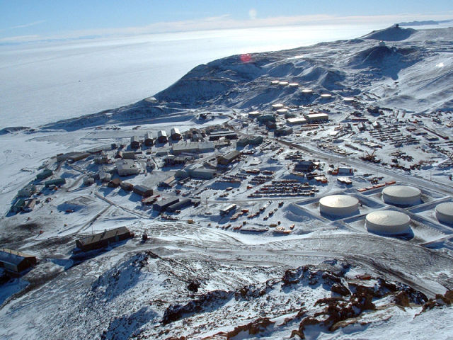 McMurdo Station, near the site where the sediment core was obtained.
