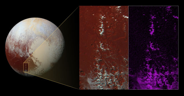 From visual images and a spectral analysis, scientists think methane ice caps some of Pluto's mountains.