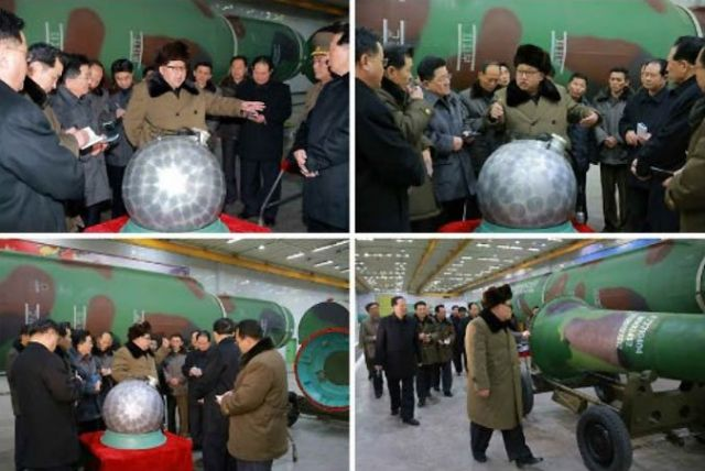 Kim Jung Un points at stuff at a nuclear missile assembly plant...or a mock-up of one.