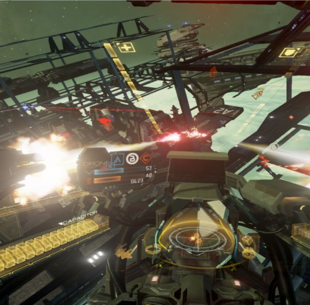 Of the notable games in the Rift's 30-strong launch library, the high-octane online space shooter <em>Eve Valkyrie</em> comes closest to a killer app. Tracking the enemy with your head at 360 degrees is a game-changer in the truest sense of the word.