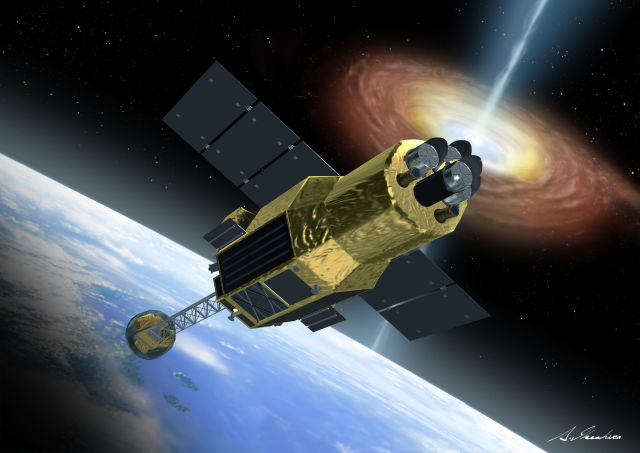An artist's impression of the Hitomi satellite in orbit. Note: That scary, all devouring X-ray source isn't actually that close to Earth.