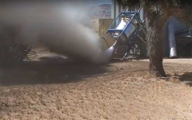 "Screen capture from a video in which ""Mad"" Mike Hughes tests his steam engine."