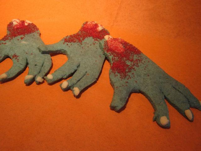 Zombie hand cookies.
