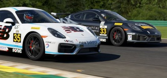 The <em>Forza</em> versions of CJ Wilson Racing's Porsche Cayman GT4 Clubsports.