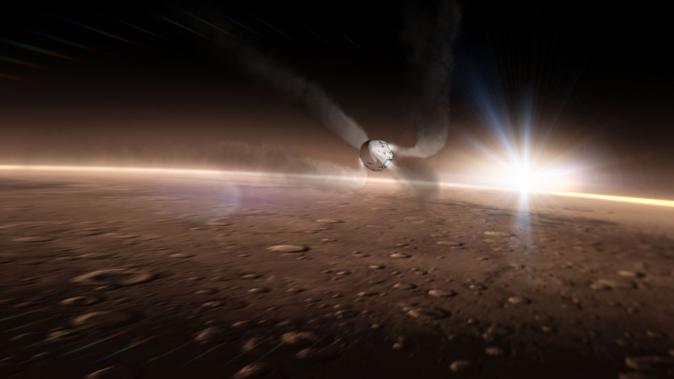 In this conceptual image, eight SuperDraco thrusters fire as a Dragon spacecraft enters the Martian atmosphere at supersonic speeds.
