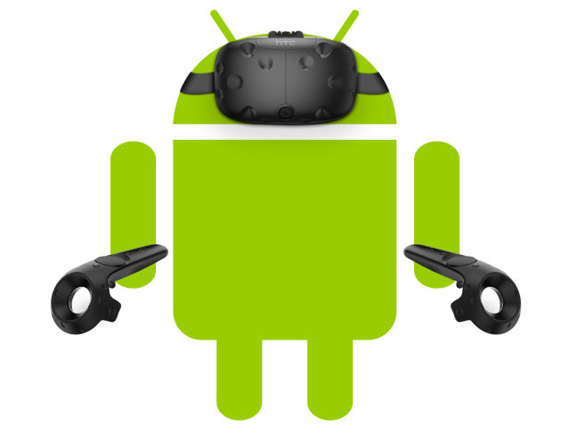 The Android mascot wearing the Vive. We don't know what the hardware will look like yet.