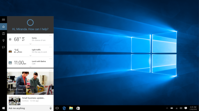 Cortana at work in Windows 10.