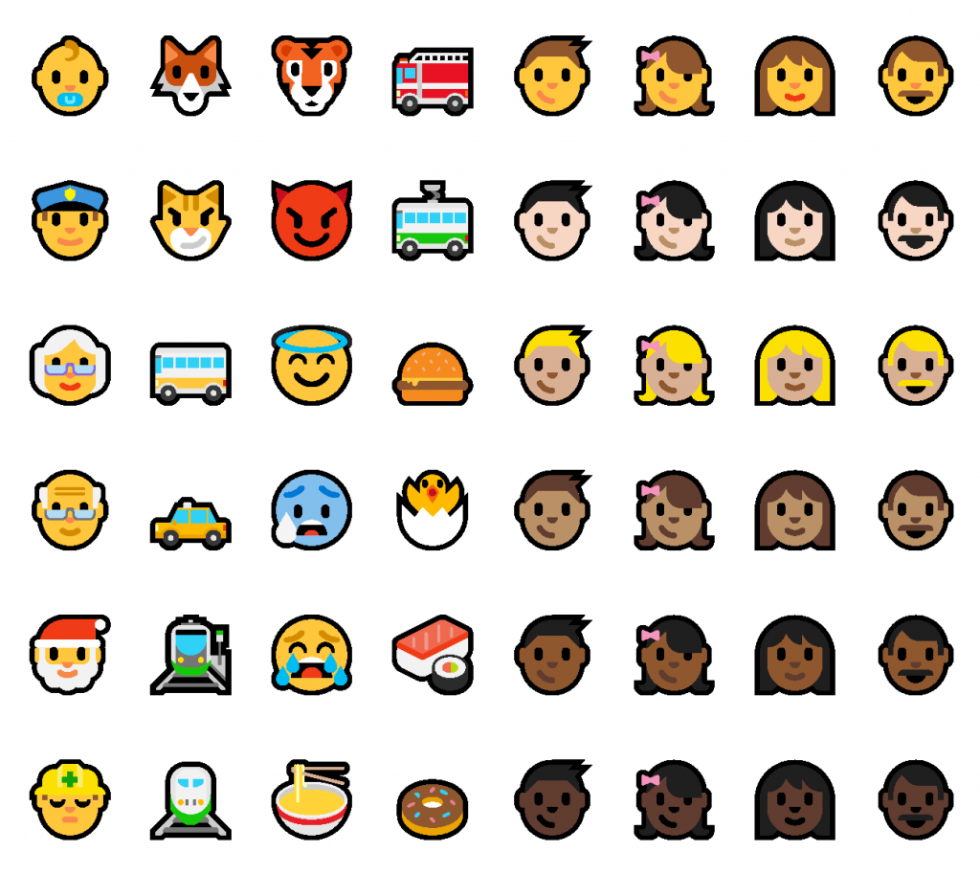 The new emojis on display.