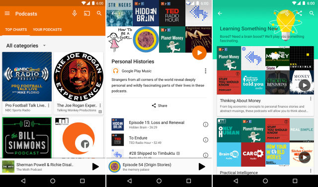 Google Play Music Podcasts in action.
