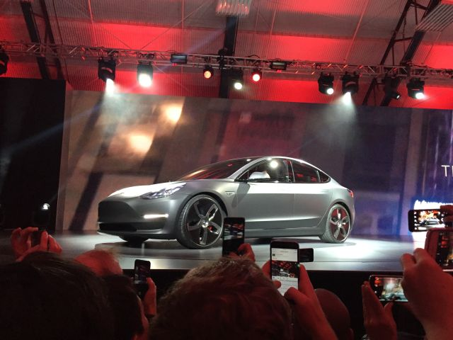 A side view of the Model 3.