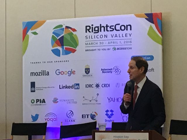 Sen. Ron Wyden (D-Oregon) gave the keynote address on Wednesday at RightsCon in San Francisco.