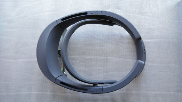 First generation HoloLens from above, showing the visor and the headband.