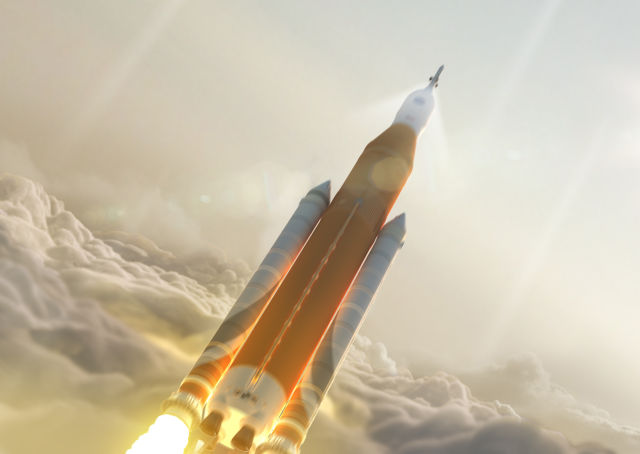 An artist's rendering of the Space Launch System rocket.