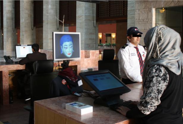 Hala at work at Carnegie Mellon Qatar.