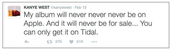Kanye West promises Tidal exclusive, fan sues when new album surfaces elsewhere