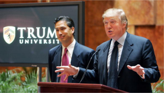 Trump University President Michael Sexton and Donald Trump in 2005, shortly before they struck a deal with the Milins.